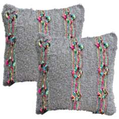 "Set of 2 Desert Braid 20"" Down Throw Pillows"