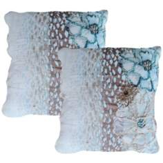 "Set of 2 Jenna Blue 20"" Down Throw Pillows"
