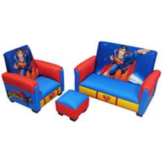 Superman Toddler Sofa Chair and Ottoman Set