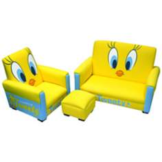 Warner Brothers Tweety Toddler Sofa Chair and Ottoman Set