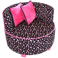 Tween Minky Black Skull Redondo Chair