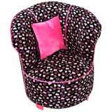 Tween Child Minky Black Skull Tulip Chair