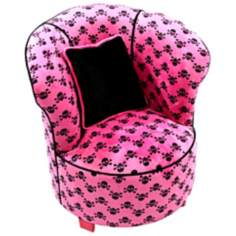 Tween Child Minky Hot Pink Skull Tulip Chair