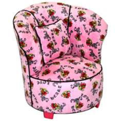 Tween Child Minky Pink Heart Tattoo Tulip Chair