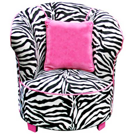Tween Child Minky Zebra Tulip Chair