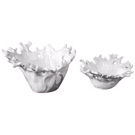 Uttermost Set of 2 Gloss White Coral Bowls
