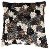 "Knots Black 22"" Square Hand-Made Accent Pillow"