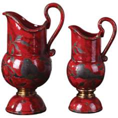 Set of 2 Uttermost Siana Bird Red Ceramic Vases