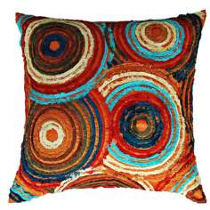 "Retro Bright 22"" Square Hand-Made Accent Pillow"
