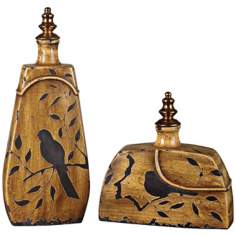 Set of 2 Uttermost Hulda Decorative Bird Ceramic Containers