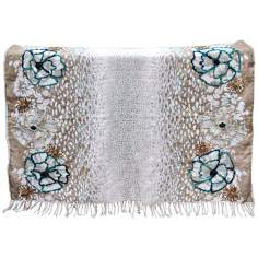 Jenne Blue Decorative Wool Throw Blanket