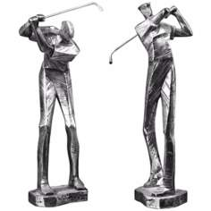 Set of 2 Uttermost Practice Shot Golfer Sculptures