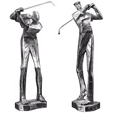 "Set of 2 Uttermost Practice Shot Golfer 16"" High Sculptures"