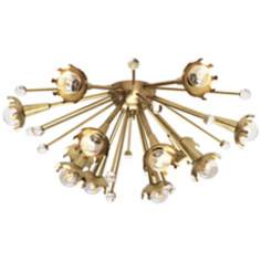 Jonathan Adler Sputnik Flush Mount Brass Ceiling Light