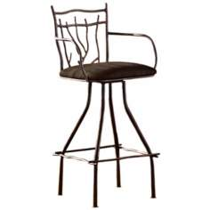 Branch Iron Bar Stool with Arms