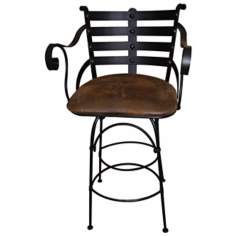 Iron Back Swivel Counter Stool with Arms