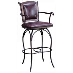Burgundy Leather Swivel Bar Stool with Arms