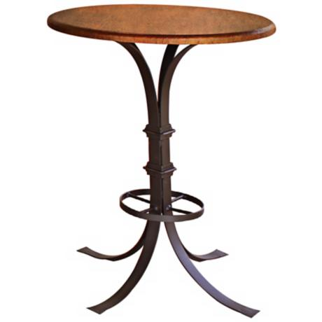 Valencia Pedestal Base Wrought Iron Copper Bistro Table