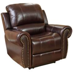 Manhattan Top-Grain Burgundy Leather Recliner