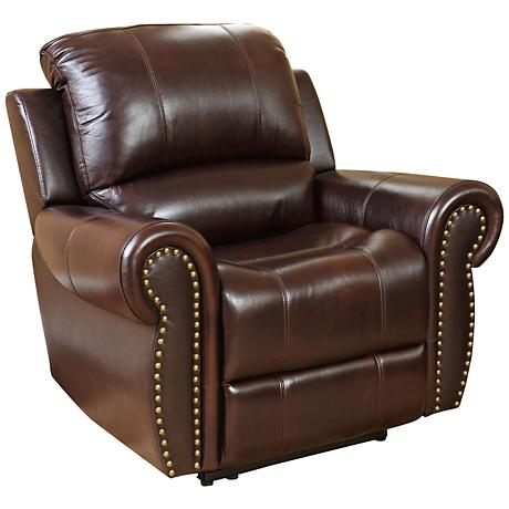 Manhattan Gibson Top-Grain Burgundy Leather Recliner