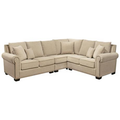 Luxe Cream Fabric 3-Piece Sectional Sofa