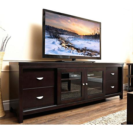Weston Millbury Espresso Solid Oak TV Stand