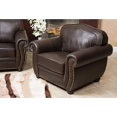 California Leather Brown Club Chair
