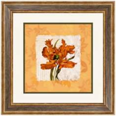 "Orange Floral I 20 1/2"" Square Framed Wall Art"