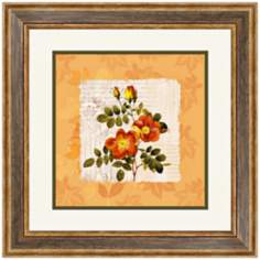 "Orange Floral II 20 1/2"" Square Framed Wall Art"