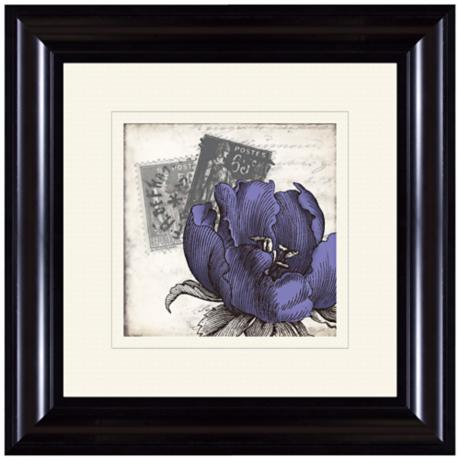 "Purple Postage 15 1/4"" Square Framed Flower Wall Art"