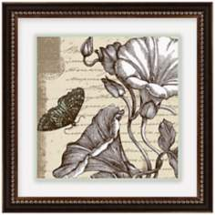 "Sepia Etchings 14 1/2"" Square Framed Flower Wall Art"