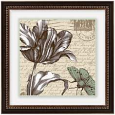 "Sepia Etchings II 14 1/2"" Square Framed Flower Wall Art"