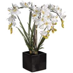 "White Cymbid Orchid 24"" High Faux Floral Arrangement"