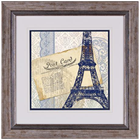 "Postcard Bleu I 17"" Square Framed Wall Art"