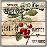 "Vintage Cherry Basket 10 1/2"" Square Decorative Wall Art"