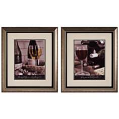 "Wine Tasting I and II 23"" High Framed Wine Wall Art Set of 2"