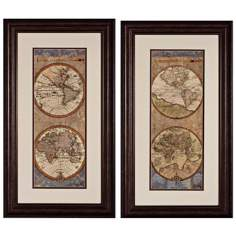 "World Map I and II 28"" High Framed Wall Art Set of 2"