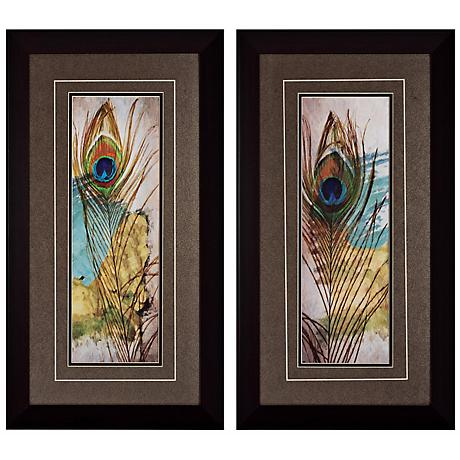 "Feather I and II 27"" High Framed Bird Wall Art Set of 2"