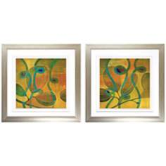 Moonflowers I and II Framed Floral Wall Art Set of 2