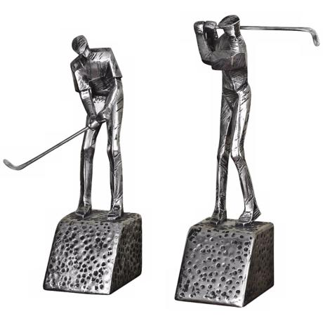 Set of 2 Uttermost Practice Shot Golfer Bookends
