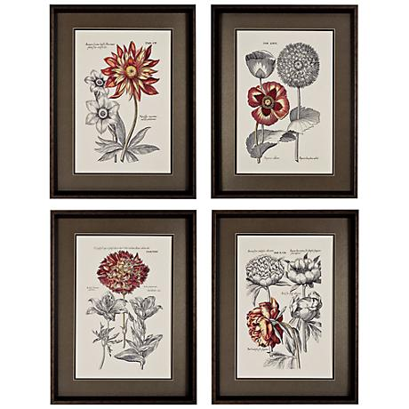 Set of 4 Floral I/II/III/IV Flower Wall Art