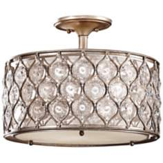 "Murray Feiss Lucia 16"" W Burnished Silver Ceiling Light"