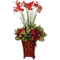 Uttermost Red Freesia in English Tole Planter