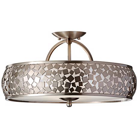 "Feiss Zara 19"" Wide Brushed Steel Ceiling Light"