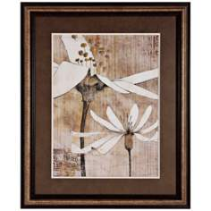 "Pencil Floral II 34"" High Framed Wall Art Print"