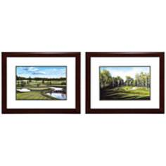 "Set of 2 Links/Round 28"" Wide Framed Golf Wall Art"