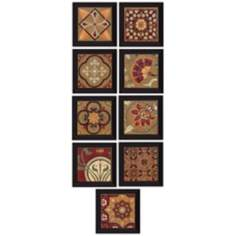 "Set of 9 Patchwork 10"" Square Pattern Wall Art"