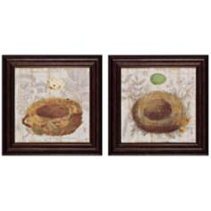 "Set of 2 Nest I/II 16"" Square Bird's Nest Wall Art"