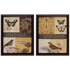 "Set of 2 Elegance I/II 16"" High Bird Wall Art"