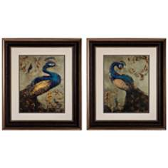 "Set of 2 Peacock I/II 31"" High Bird Wall Art"